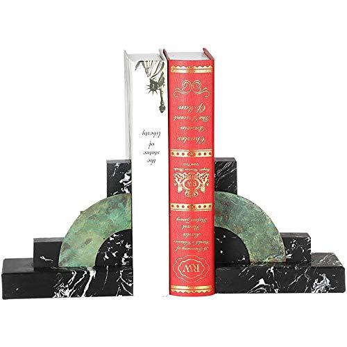 PQXOER Boekensteunen Heavy Duty Art bureau-bookends marmer antislip bookends decoratief voor thuis kantoor 1 paar boekenhouders voor planken, tafel