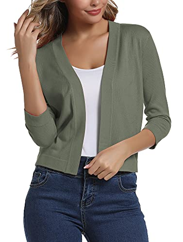 Urban CoCo Women's 3/4 Sleeve Cropped Cardigan Sweater Elegant Shrugs for Women (L, Washed Oliver)