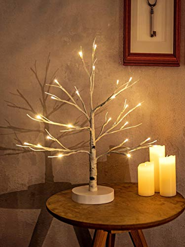 Hypestar Dekoratives Lichterbaum | Leuchtbaum mit 24 Warmweißer LEDs Licht | 45cm Lichterzweige für Tischdekoration | Zeitschaltuhr USB und Batterien | Weihnachten Ostern Party Innendeko (24 Weiß)