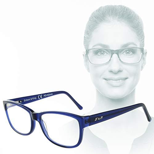 Edison & King Workflow: Occhiali da Lettura Business con Lenti Premium incl. Protezione Luce Blu (Blu, 2,00 dpt)