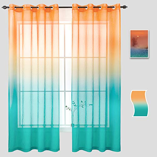 Naturoom Gradient Curtains Orange Blue, Ombre Semi Sheer Voile Light Filtering Window Curtain Grommet Panels for Living Room & Dining Room - 54 W x 72 inch Long