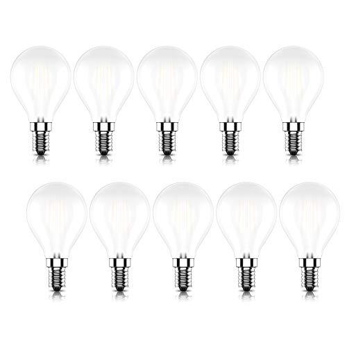 Kcwiau Regulable Bombillas LED E14 (Casquillo Fino) G45 Vintage Edison Bombilla LED,4W Equivalente a 40W,Blanco Cálido 2700K,CRI80,Pack de 10