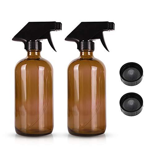 XGzhsa Botella de Spray de Vidrio 500ml, Botellas de Aerosol de Vidrio ámbar, 2 Botellas de Sombra marrón Botellas de Aerosol con Bombas atomizadoras, para aceites Esenciales, perfumes, Agua
