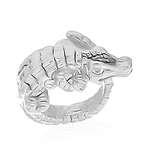 TJC Silver Crocodile Ring for Womens Shinny 925 Sterling Stamped Gift for Animal Lover Size S