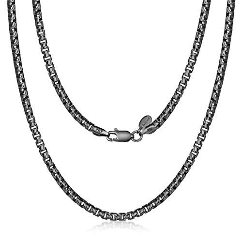 Amberta Collana Placcata Rodio Nero su Argento Sterling 925 per Uomo - Maglia Veneziana Rotonda - Spessore 3 mm - Lunghezza 50 cm