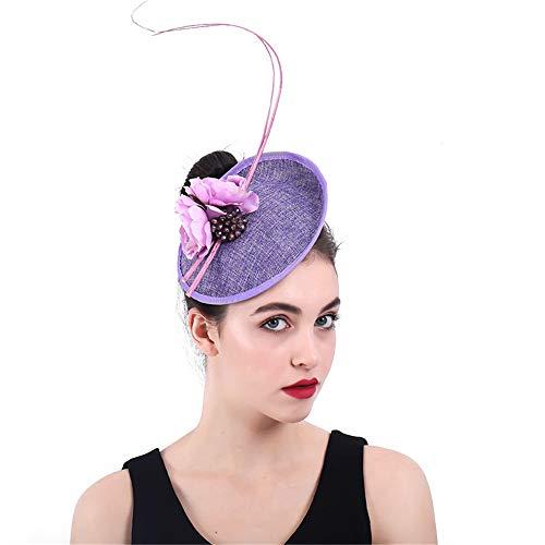 Jklj Pince à Cheveux Coiffe De Plumes Vintage Hat Women Net Net Purple Flower Party Plume Rétro