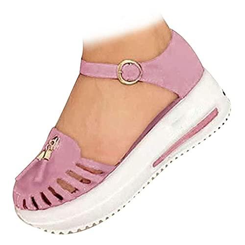Hicouk Sandalias para Mujer, Plataforma Chanclas de Tacón Bajo con Correa en el Tobillo Zapatillas Planas Plataforma Zapatos Casuales Cómodos para Verano Playa Atlético,Rosado,43