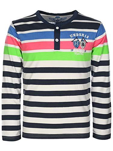 Kinder Jungen Pullover Langarm-Shirt Pulli Sweater Knopfleiste Rundhals 30129 Navy 158 bis 164/14 Jahren