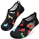 JOINFREE Water Shoes for Kids Girls Boys Swim Barefoot Sports Shoes for Outdoor Activity Black Dinosaur 12.5-13 Little Kid