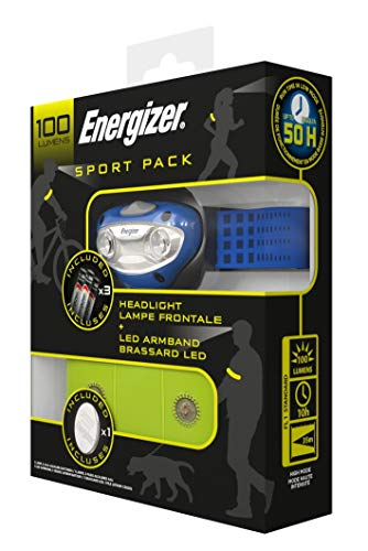 Energizer Sport Pack, Linterna Frontal + Brazalete LED + Pilas, Running y Ciclismo, Azul