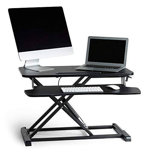 VonHaus Sit Stand Desk | Gas Assisted Black Screen Monitor Riser Workstation | Home Office Standing Two Tier Desk Converter