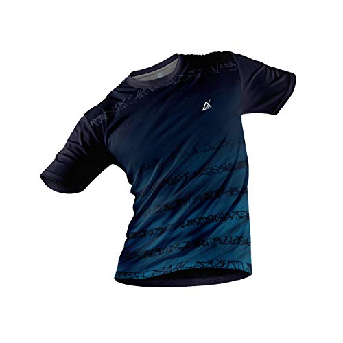 JJ TEES Polyester Half Sleeve Jersey with Round Collar and Digital Print All Over for Men (Size:M) (Color: Dark Blue and Light Blue)