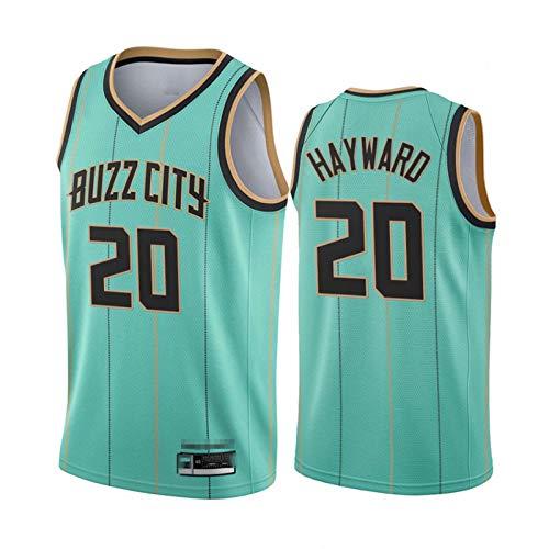 TGSCX Camiseta de Baloncesto para Hombres NBA Charlotte Hornets 20# Gordon Hayward Cómodo/Ligero/Transpirable Malla Bordada Swing Swing Sworing Sweatshirt,XXL