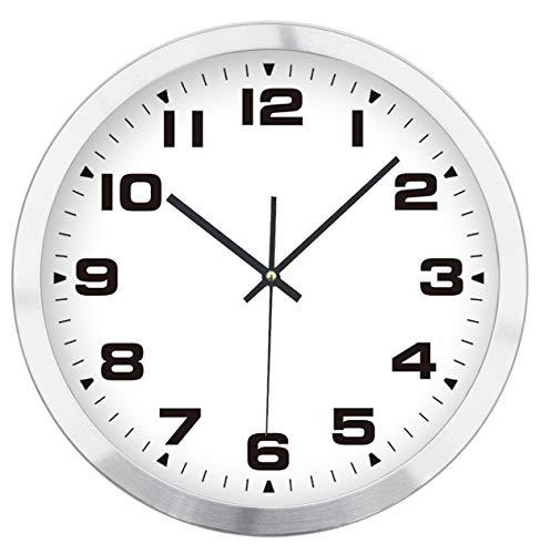 Lüllmann Funk Wanduhr DCF Funkuhr Analog Uhr Ø 30cm Aluminium Rahmen Weiß 400341