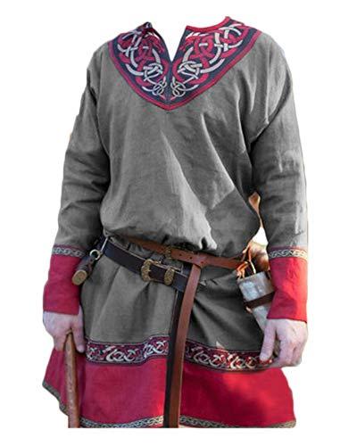 Hombres Manga Larga Renaissance Medieval De Los Camisa Casual con Cuello En V Disfraz Sin Cinturón Gris Tag S/EU XS