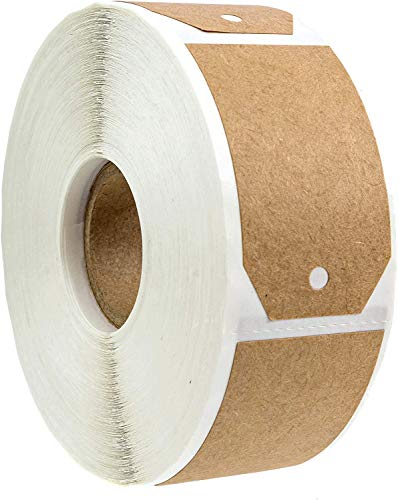 """1.15""""x2"""" Natural Brown Kraft Gift Tag Stickers / 500 Labels per Roll/Permanent Adhesive"""