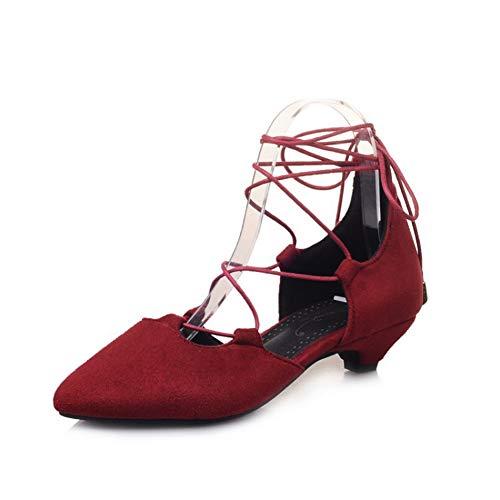 WSNBB Sandalias Punta Puntiaguda, Correas Tacones Altos Gamuza, Tacón Bajo Zapatos Bombas Ahuecados, Zapatos Boda Elegantes Y Sexy Moda Verano Damas,Rojo,40