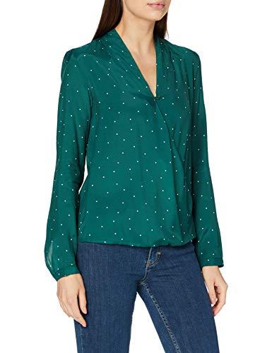 Seidensticker Damska bluzka – modna bluzka – bluzka kopertowa – dekolt w serek – krój regularny – długi rękaw – 100% wiskoza, zielony i biały, 40