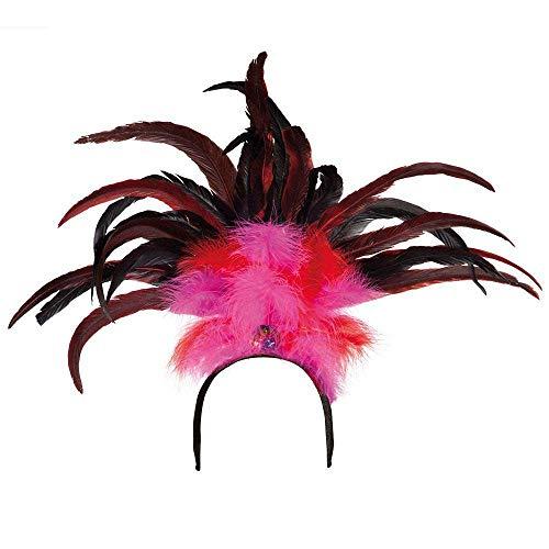 Boland 52283 Rio Serre-tête avec plumes Rose/rouge Taille unique