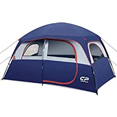 "【Roomy for 6 People Family】 CAMPROS tent is the perfect family tent you've ever seen. With Size: 11' x 7' x 72""(H)(77 sq ft), 1 queen air mattresses or 6 sleeping bags are well fit in the tent. Ideal for family car camping or camping site. 【Durable &..."