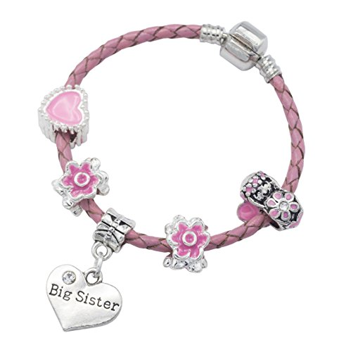 'Big Sister' Pink Leather Charm Bracelet for Girls Presented in Gift Box (16)