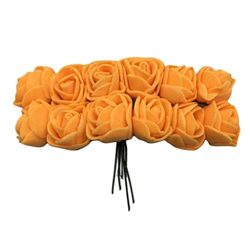 B Blesiya 144 Stücke Künstliche Rosen Blumen Foamrosen Schaumrosen Blumenköpfe Brautstrauß Hochzeit Dekoration - Orange