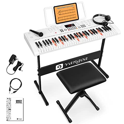 Vangoa VGK6101 Electronic Keyboard Piano, 61 Lighted Full-size Keys Electric Piano...