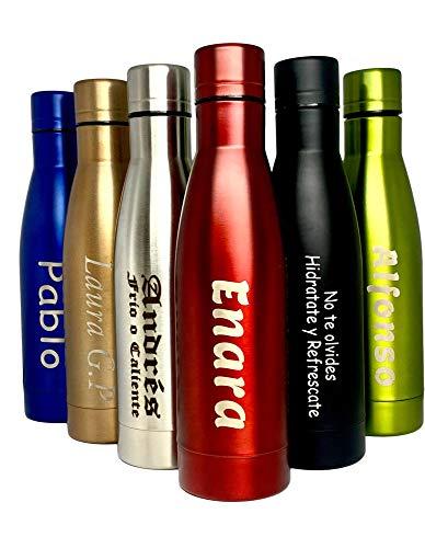 Botella térmica personalizada con texto. Caliente 12H y Frio 24 H (Verde claro)