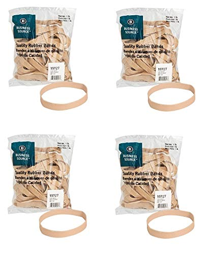 Business Source Size 107 Rubber Bands - 1 lb. Bag (15727) (Pack of 4)