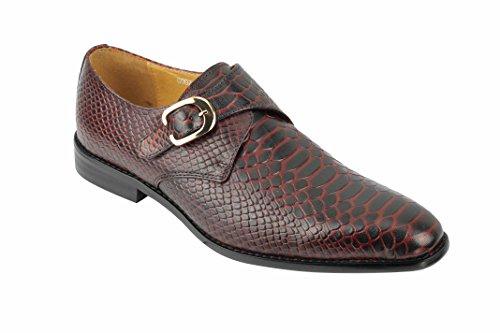 Xposed Männer Echtes Leder Krokodil-Haut-Effekt Rot Blue Monk Schuhe Slip on Smart-Loafer [9912-01A-RED-41]