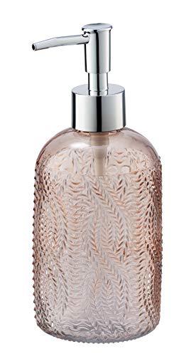 WENKO Seifenspender Vetro Rosa rund Echtglas - Flüssigseifen-Spender, Spülmittel-Spender Fassungsvermögen: 0.4 l, Glas, 8.5 x 19 x 7.5 cm, Rosa