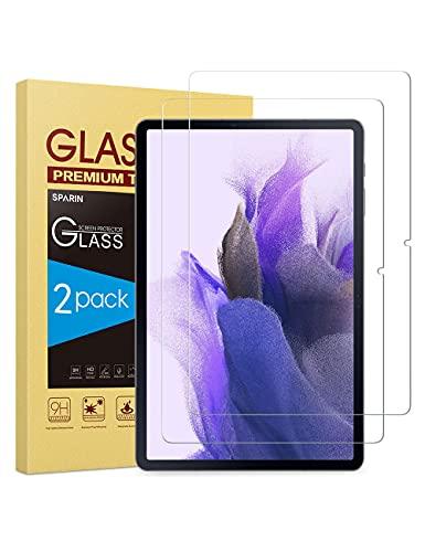 SPARIN Protector de Pantalla Compatible con Samsung Galaxy Tab S7 FE 5G / Tab S7 Plus, Cristal Templado de 12.4 Pulgadas, Compatible con S Pen, 2 Piezas