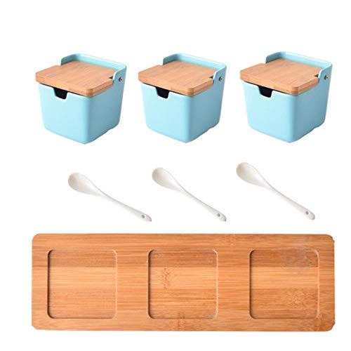 Kruidenpotjes Nordic Creatieve Kruiden Pot Suikerpot Keuken Aardewerk Kruiderij Pot Kruiderij Doos Europese Huishoudelijke Kruiderij Zout Pot, LICHTBLAUW 3 STKS SET