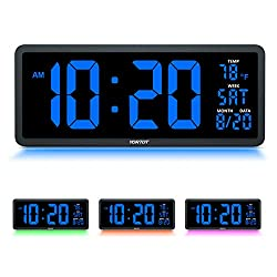 YORTOT 16 Inch Large Digital Wall Clock with 4 Level Brightness Dimmer, Remote Control, 7 Color Night Light, Big Blue Number LED Display with Indoor Temperature, Date and 12/24H, DST, Fold Out Stand