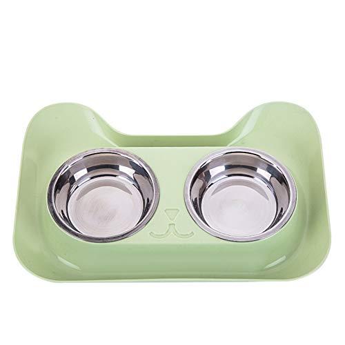 Doble perro tazones de gatos no derrames;Alimentador de agua de diseño sin patines para perros pequeños Gatos Alimentación de acero inoxidable Suministros de tazón para mascotas ( Color : Green )
