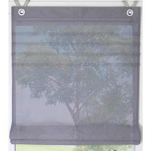 Estor de colour blanco y con ojales de estor Kessy tubería de cortina es 1er-Pack, poliéster, gris, BxH 80*140cm