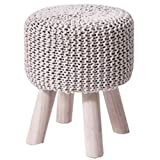 Poufs Footrest Footstool <span class='highlight'>Target</span> Ottoman Bedroom <span class='highlight'>Bedside</span> Pier Handmade Wool Knitted Stool High Stools For Changing Shoes At Home (Color : Off-white, Size : 32 * 40cm)