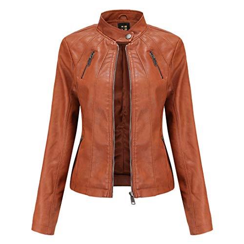 2-2 Frühjahr und Herbst Damen Motorrad Lederjacke, Damen Classic Zip Up Echtledermantel, Vintage Slim Fit Biker Mode Lederjacke Brown-XXXL