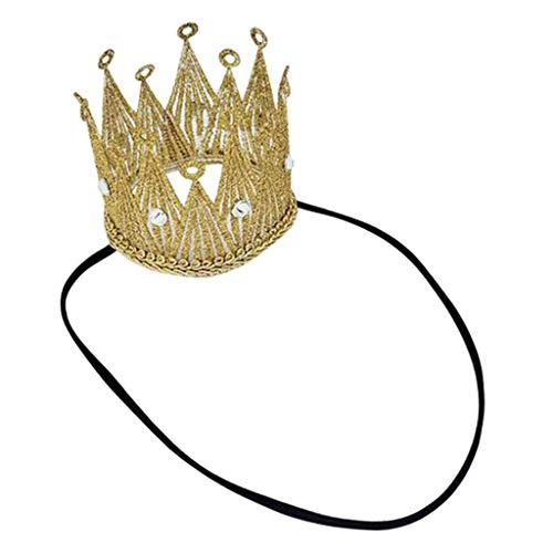 Hellery Diadema de corona para niñas cumpleaños y disfraz para niños Cosplay, accesorios de decoración de vacaciones de cabello de boda regalos - de Oro