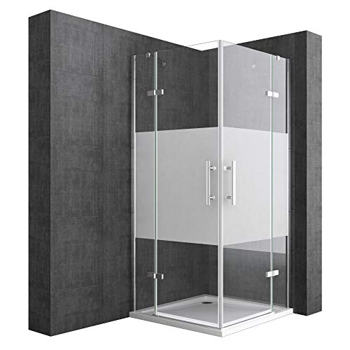 Mai & Mai Cabina de ducha esquinera Rav30MS 100x80x195cm Mampara de vidrio de seguridad templado con franjas de vidrio esmerilado con revestimiento para fácil limpieza | Con plato de ducha