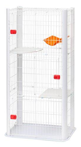 IRIS, Katzenkäftig 'CAT CONDO', CSC1-3, 3 Ebenen, Kunststoff / Draht mit Epoxidbeschichtung, weiß, 91 x 50 x 170 cm