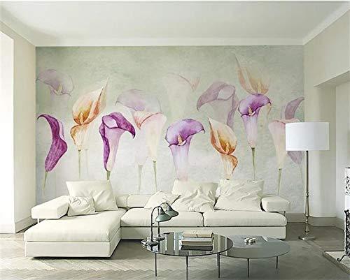 Wxlsl 3D Tapete Fototapete Benutzerdefinierte Zimmer Mural Aquarell Calla Lilie Gemälde Bild 3D Wandbilder Tapete Für Wände-250cmx175cm
