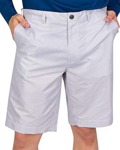 Three Sixty Six Seersucker Golf Short for Men - Quick Dry Casual Walk Shorts - 10 Inch Inseam Grey