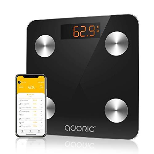 Pèse Personne Impédancemètre Adoric- Balance Connectée Bluetooth pour IOS et Android, Multi-mesures, Marche/Arrêt Automatique, 150 KG(noir)