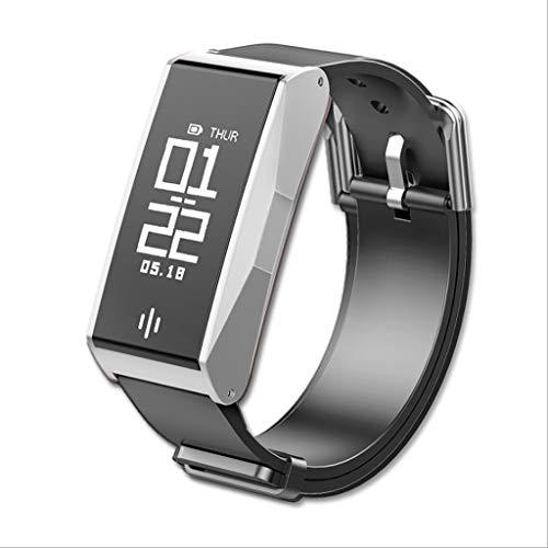 XUANLAN Braccialetto Intelligente Bluetooth del pedometro dell'orologio di Salute del Braccialetto di monitoraggio di frequenza cardiaca dell'ossigeno del Sangue (Color : Silver)