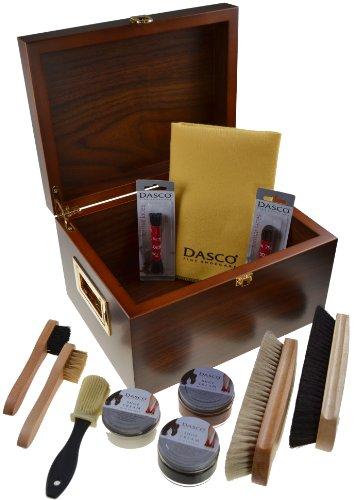 Dasco – Boîte de produits d'entretien de chaussures en noyer