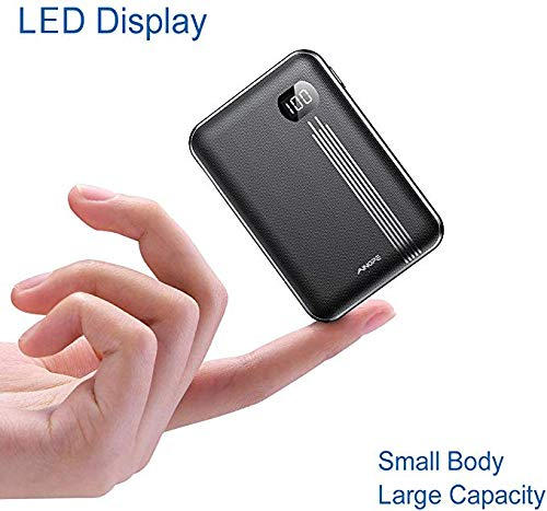 Portable Charger 10000mAh, AINOPE LED Display One of The Smallest and Lightest 10000mAh External Battery, 2 USB Outputs External Battery Pack/Travel Power Bank/Phone Backup for iPhone Samsung and more
