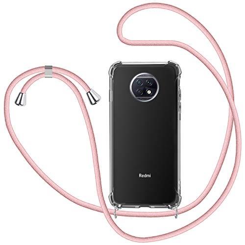 SAMCASE Funda con Cuerda para Xiaomi Redmi Note 9T/ Note 9 5G, Carcasa Transparente TPU Suave Silicona Case con Correa Colgante Ajustable Collar Correa de Cuello Cadena Cordón - Oro Rosa