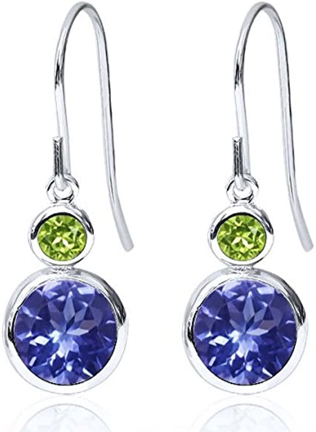 1.88 Ct Round bluee Tanzanite AAA Green Peridot 925 Sterling Silver Earrings
