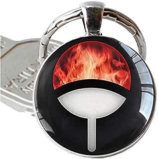 Anime Naruto Keychain Uchiha Clan Badge Sasuke Itachi Kakashi Cosplay Sharingan Eyes Pendant Key Chain Men Keyring